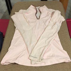Pink with brown trim Lululemon tech shirt size 4